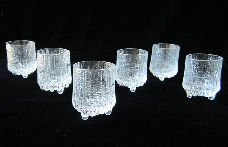 Iittala Ultima Thule 6 Pc Liquor Shot Glasses Set Vintage Scandinavian Modern Art Glass Tapio Wirkkala Finland Small 2 Ounce Unique Home Bar by SaltwaterVillage on Etsy