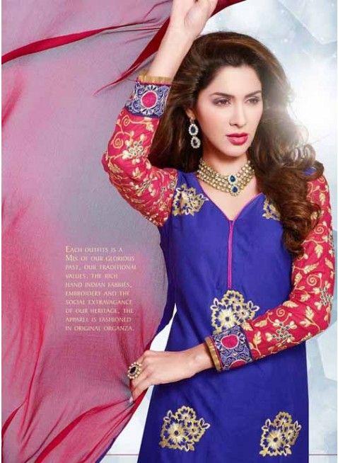 Astonishing Pink & Blue Chiffon Based #Salwar #Suit With Resham Work #salwarkameez #ethnicwear #womenapparel #womendresses