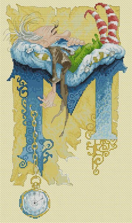 Cross+Stitch+Chart+Illuminated+Letter+M+by+LenaLawsonNeedleArts More