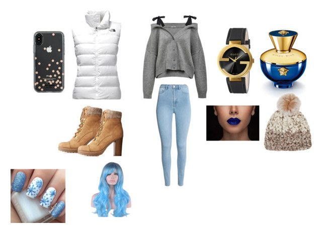 """""""winter look"""" by angelmvai on Polyvore featuring The North Face, Charlotte Russe, Gucci, Versace, WithChic, Mischa Lampert and Kate Spade"""