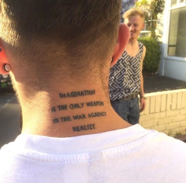 Quote On Neck By Marty Mulligan Quotetattoos Neck Tattoo Tattoos Tattoo Quotes