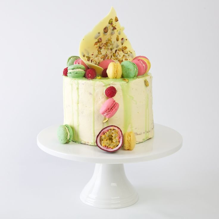 THE SYMPHONIE: Pistachio layer cake with raspberry jelly and passion fruit curd and white chocolate ganache. No recipe.