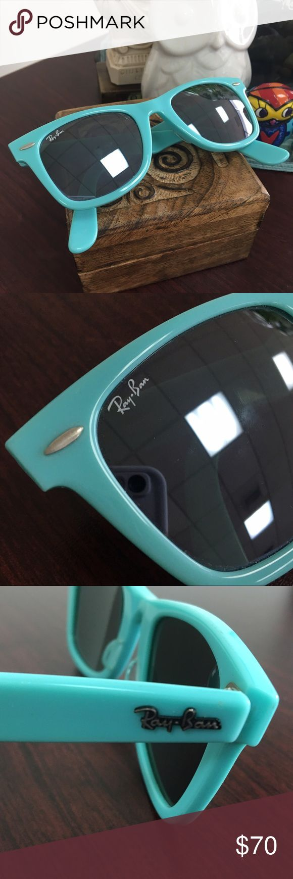 Teal Ray-Ban Sunnies! Be Summer-Ready with these Sunnies. These are super fun and unique. Authentic RB2140. Make me an offer. No trades, sorry. **These have little bite marks on the end of the legs, but cannot be seen when worn. Ray-Ban Accessories Sunglasses