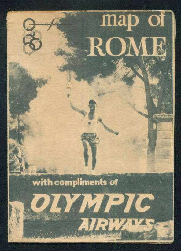 Olympic Airways, MAP OF ROME WITH PROGRAMME XVII OLIMPIADE ITALY 1960