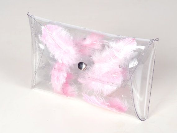 Clear clutch transparent bag with pink feathers bag by YPSILONBAGS