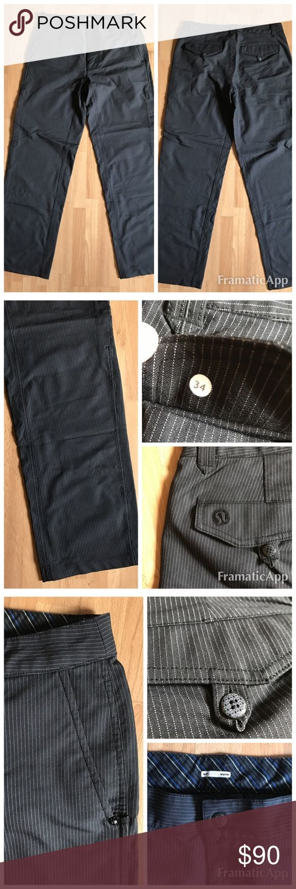 Lululemon Men's Endeavor Pants size 34 RARE! Mint! Lululemon  Men's Pintripe Endeavor Pants- RARE- Pristine! $99 size 34. Very hard to find!   * Mid weight pant made for personal trainers to wear at work and play * Hockey Butt Fit - for those with athletic builds * Leg vents for high breathability * Soft moisture wicking inner waistband * Stretch fabric allows for a full range of motion * Preshrunk because you are a man lululemon athletica Pants
