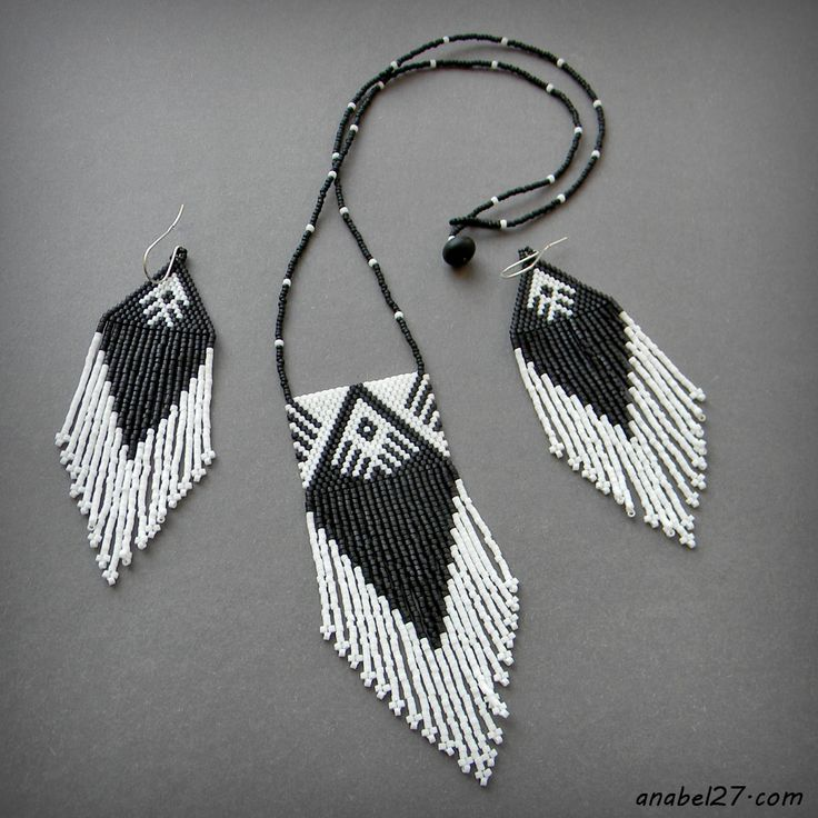 Square peyote fringe pendant and Fringe triangle brick stitch earrings - Native American pattern