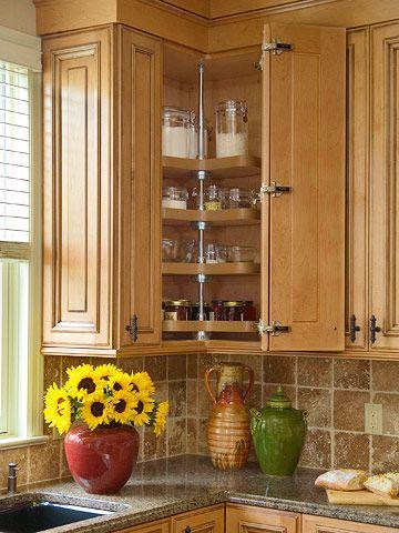 corner: Lazy Susan, Corner Cupboard, Storage Idea, Corner Cabinets, Kitchen Ideas, Upper Cabinet, Kitchen Remodel, Kitchen Cabinets