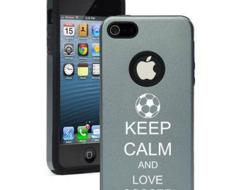 For Apple iPhone 4 4s 5 5s 5c Dual Layer Aluminum Silicone Hard Case Cover Black Blue Red Green Silver Pink Purple Keep Calm Love Soccer