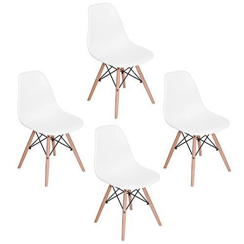"""Set of 4 Eames Eiffel DSW Style Side Dining Chair, ELERANBE 18"""" Height Armless Accent Chairs with Eiffel Natural Beech Wood Base Legs, for Dining Room Waiting Room Bedroom Kitchen - White"""