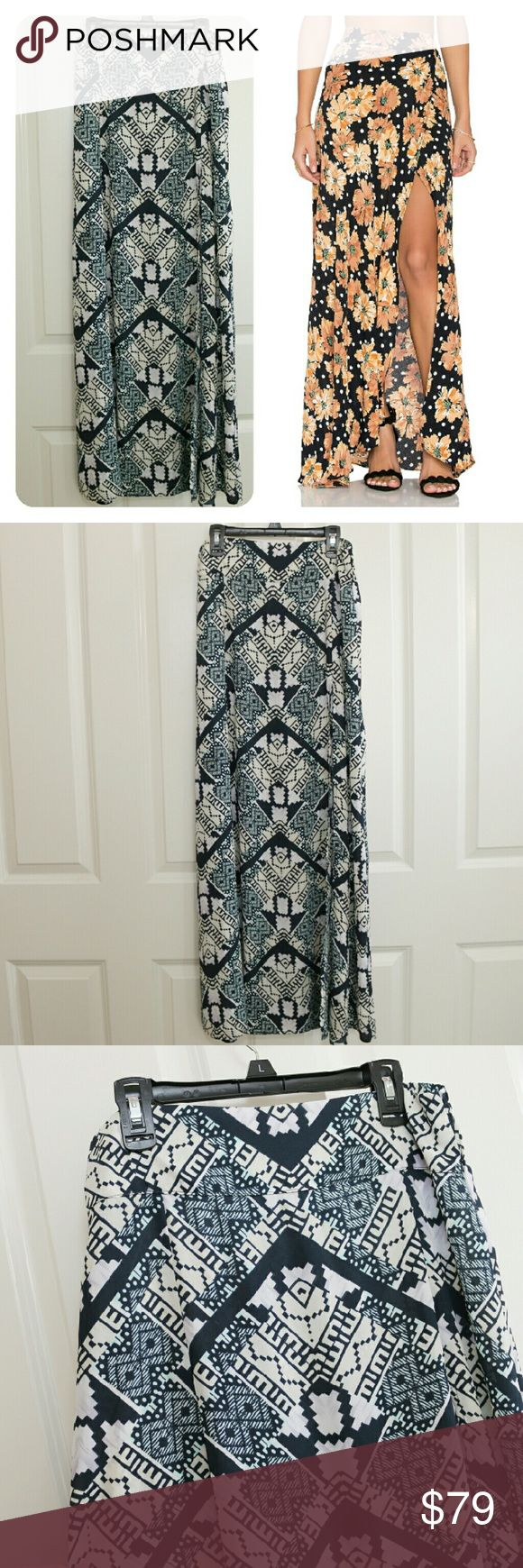 Flynn Skye Wrap it Up Skirt Blues and Pale Yellow Flynn Skye Wrap it Up Skirt.  Size 1.  About 14.5 inch waist.  About 40 inches waist to hem.  This is a previously owned item... but in just like new condition.  I looked it over and couldn't find any flaws.  Feels like brand new.  Blues and pale yellow pattern.  Retails $168.00. *** (stock picture is just to show fit) Flynn Skye Skirts Maxi
