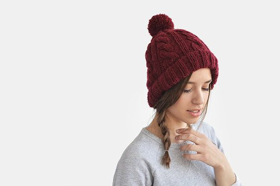 Hand Knit Beanie in Burgundy Cable Knit Womens Winter by Plexida.esty