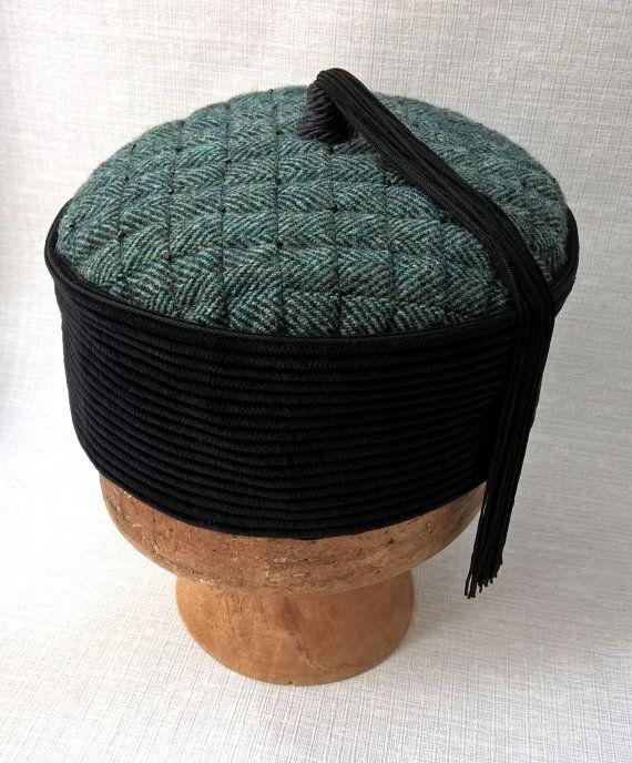2c2244425c008 Smoking Cap Oriental Mens Hat Gothic Victorian Style, Beaded Tassel Lounge  Hat Wizard, Steampunk Mens Fez Magician Pillbox Hat, green black #etsy