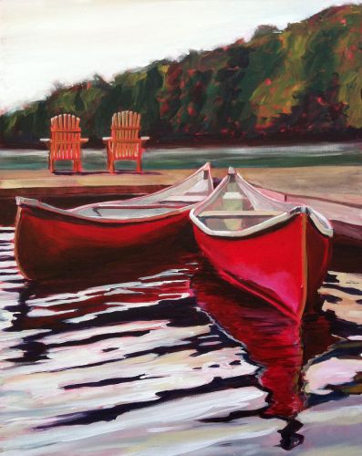 """Canoes"" by Canadian artist Michel Poirier, who celebrates his home country in his portfolio."