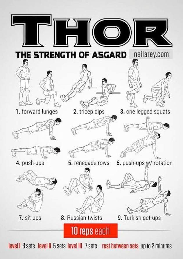 Thor Workout The strength of Asgard Fitness Workouts, Hero Workouts, Gym Workout Tips, Sport Fitness, At Home Workouts, Fitness Tips, Movie Workouts, Workout Board, Body Workouts