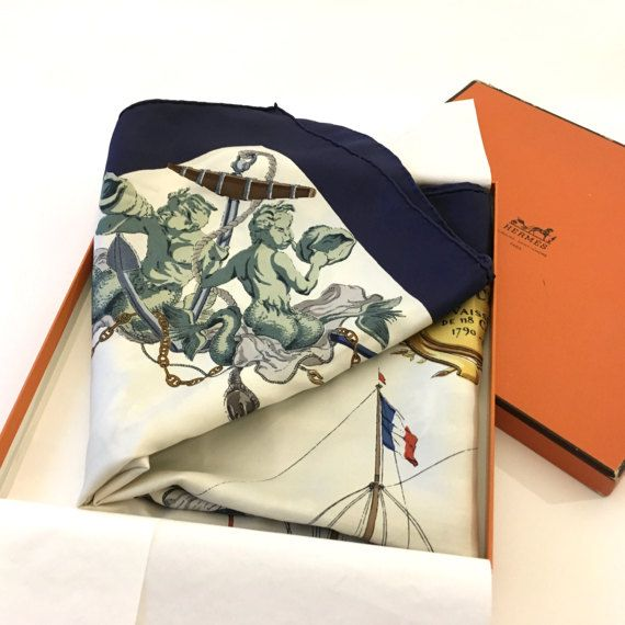 HERMES silk scarf l'ocean by Philippe Ledoux . Rare 1959s Hermes carre