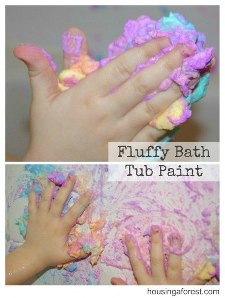 Fluffy Bath Tub Paint made with crumbled Ivory Soap.