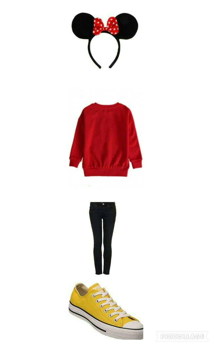 Mini mouse halloween costume idea out of clothes Head: Mini mouse ears Top: Red sweatshirt Bottem: Black skinny jeans Shoes: Yellow convers