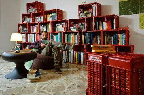 Milk carton book shelves, the readers man cave #mancave