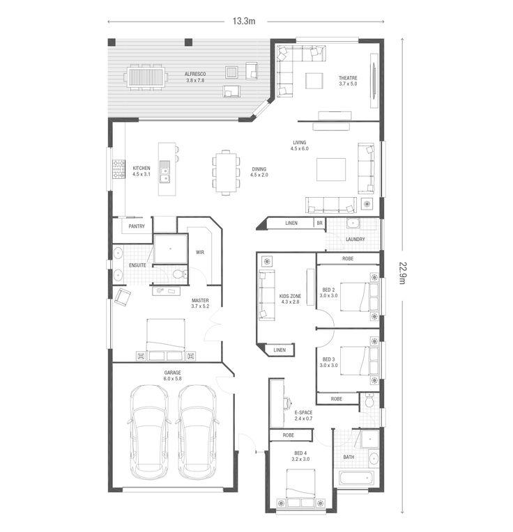 115 best maison images on Pinterest Desks, Bedroom ideas and - plan maison en l 100m2