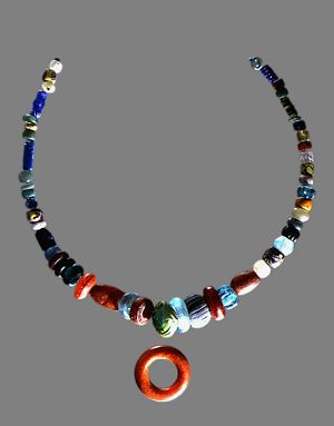 The Pagan Lady's necklace, excavated in 1984 from a grave at Peel Castle, Peel, German --it is thought to date from mid to late 900AD.