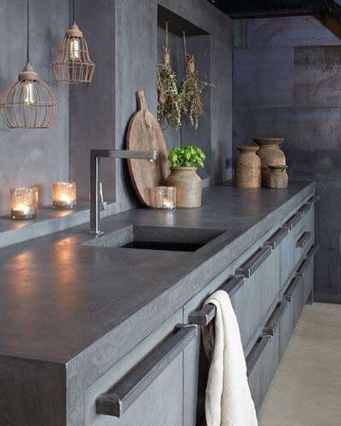 Concrete kitchen all over.  Source: Pinterest  #concrete #simplicity #grey #art #blackandwhite #kitchen #kitchenlife #interiordesign #interiør #kitchendesign #concretekitchen #copper #kitchenlove #floor #black #white #wood #plant #greenery #weekend #sundaylife
