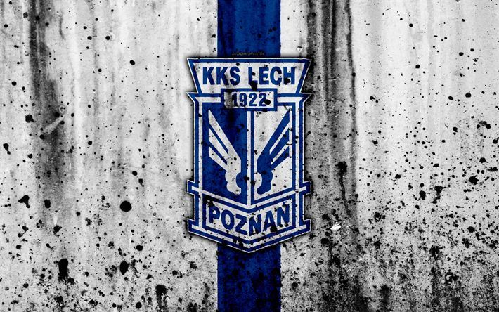 Download wallpapers FC Lech Poznan, 4k, grunge, Ekstraklasa, logo, football club, Poland, Lech Poznan, soccer, art, stone texture, Lech Poznan FC