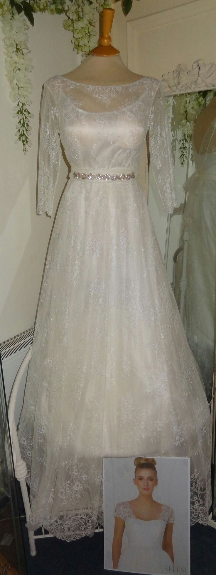 Gorgeous Lara. Lace gown with satin underlay. Wedding dress by Sadoni. Available from Caroline Clark Bridal Boutique, droitwich, Worcester. Www.carolineclarkbridalboutique.co.uk