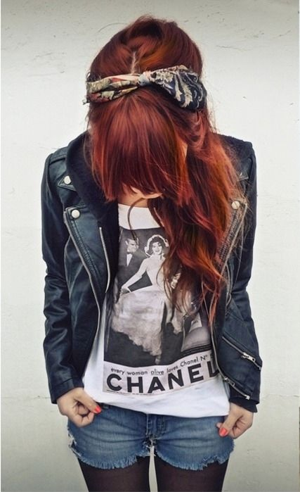 hair bandana styles | bandana, chanel, fashion, girl, red hair, style - inspiring picture on ...