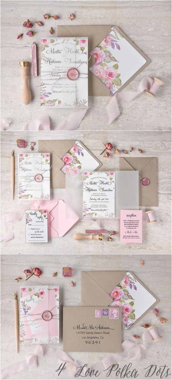 Watercolor pink garden rose wedding invitations #pinkwedding