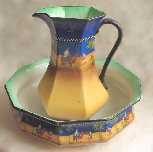 Superb Rich H K Tunstall Ceramic Arab on Camel in Desert Scene Pitcher Basin | eBay