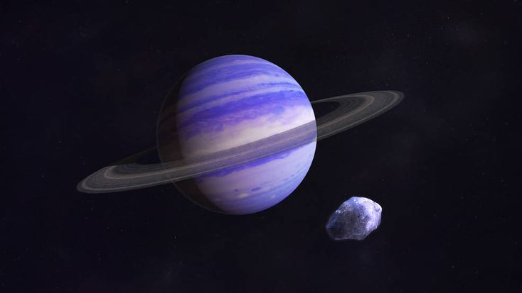 artists sketch of purple, ringed planet, asteroid
