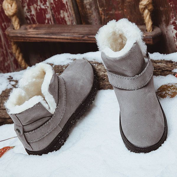 US Size 5-12 Fur Lining Snow Ankle Short Boots Round Toe Soft Winter Boots   #women  #shoes #fashion