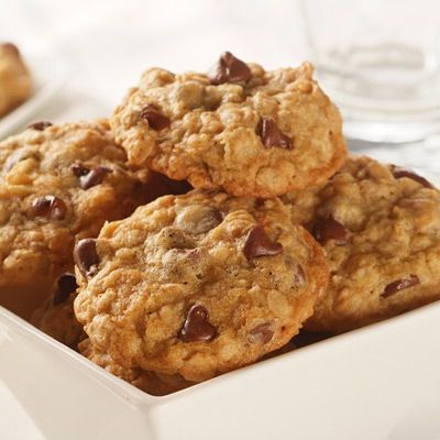 Choc-Oat-Chip Cookies: 1 3/4 cups all-purpose flour- 1 teaspoon baking soda- 1/2 teaspoon salt (optional)- 1 1/4 cups packed brown sugar- 1 cup (2 sticks) butter, softened- 1/2 cup granulated sugar- 2 large eggs- 2 tablespoons vanilla extract- 2 1/2 cups quick or old-fashioned oats- 2 cups (12-oz pkg.) semi-sweet chocolate morsels- 1 cup chopped nuts (optional).../click to see
