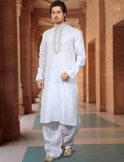 Linen white men Pathani suit, must have atleast one. Its #Eid time! Product code - G3-MPS0152 Price - 5095/-