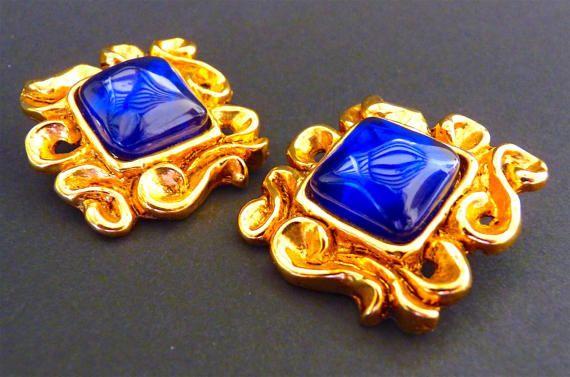Boucles d'Oreilles CHRISTIAN LACROIX, Vintage, Bleu, Doré, Bijoux couture, Haute Couture, Idée Cadeau, Envoi Gratuit
