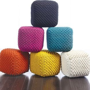 Tonia Cross Knitted Pouf