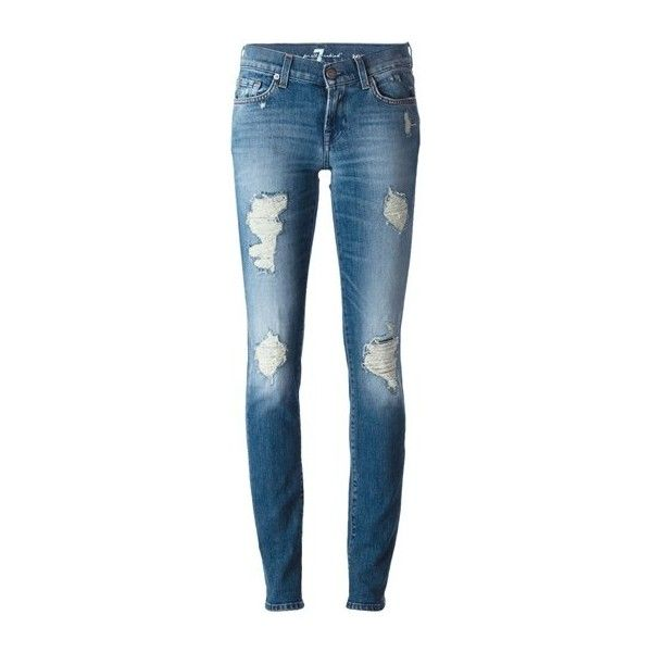 SEVEN JEANS Distressed Skinny Jeans ($288) ❤ liked on Polyvore featuring jeans, pantalon, light blue, destroyed denim skinny jeans, distressing jeans, ripped jeans, blue skinny jeans and torn jeans
