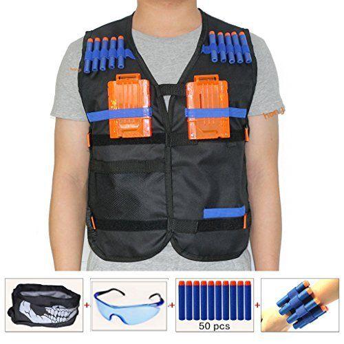 Kids Elite Tactical Vest Kit for Nerf Guns N strike Elite   Black (comes with Face Mask + Protective Goggles + 50pcs Bullets Darts + 2pcs 5 dart Quick Reload Clips + 2pcs Refill Darts Wrist Belt). #Kids #Elite #Tactical #Vest #Nerf #Guns #strike #Black #(comes #with #Face #Mask #Protective #Goggles #Bullets #Darts #dart #Quick #Reload #Clips #Refill #Wrist #Belt)
