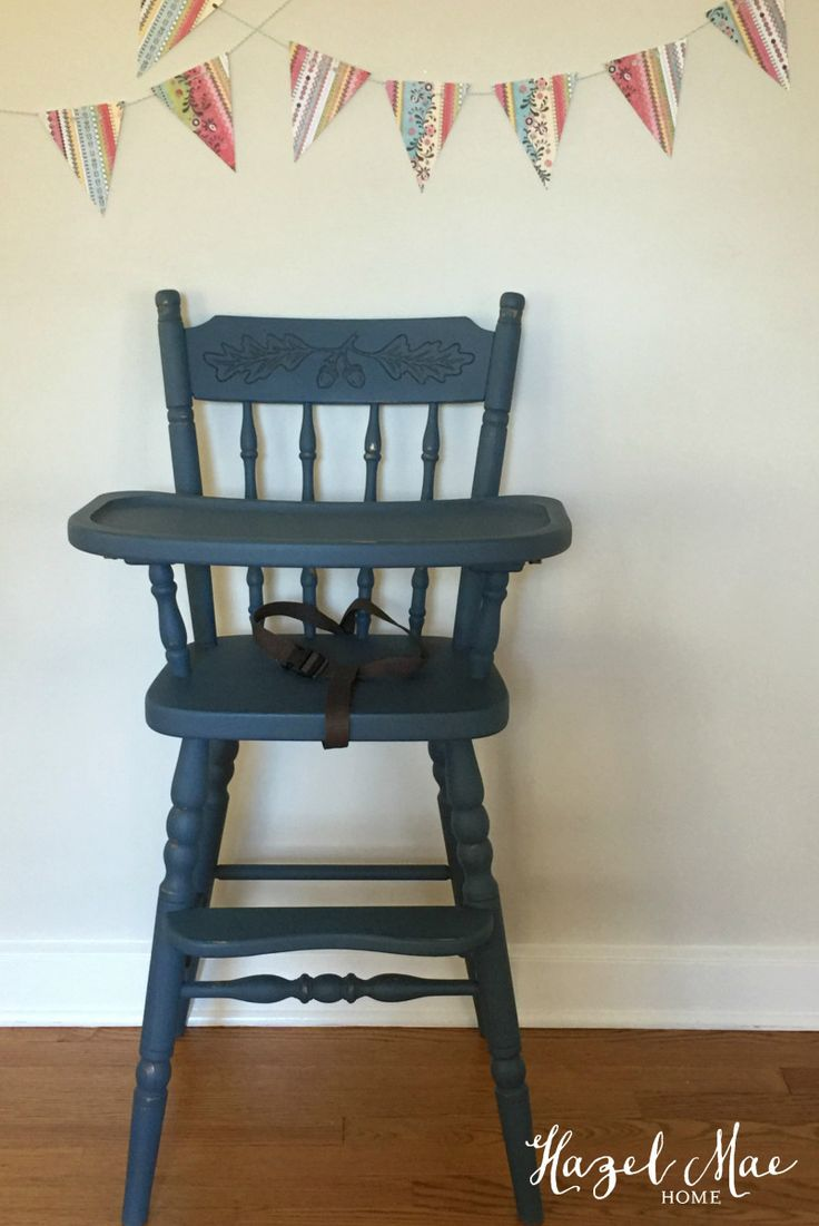 Painted wooden high chair - High Chair Painted In Custom Annie Sloan Blue By Hazel Mae Home
