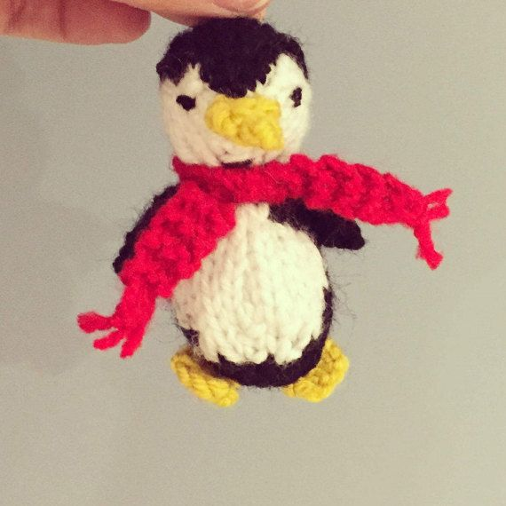 Knitted Penguin Christmas decoration by OnlyOneKnitToys