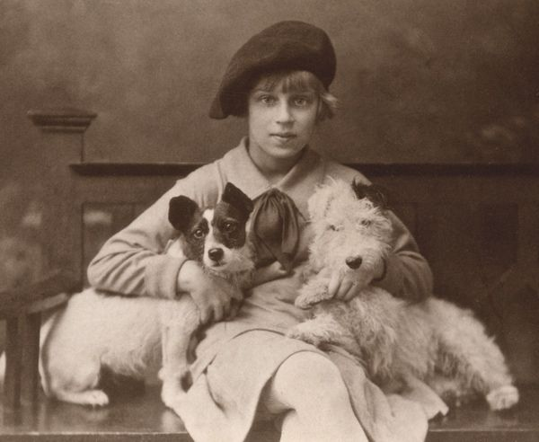 Beautiful vintage photo of a child and her two beloved dogs