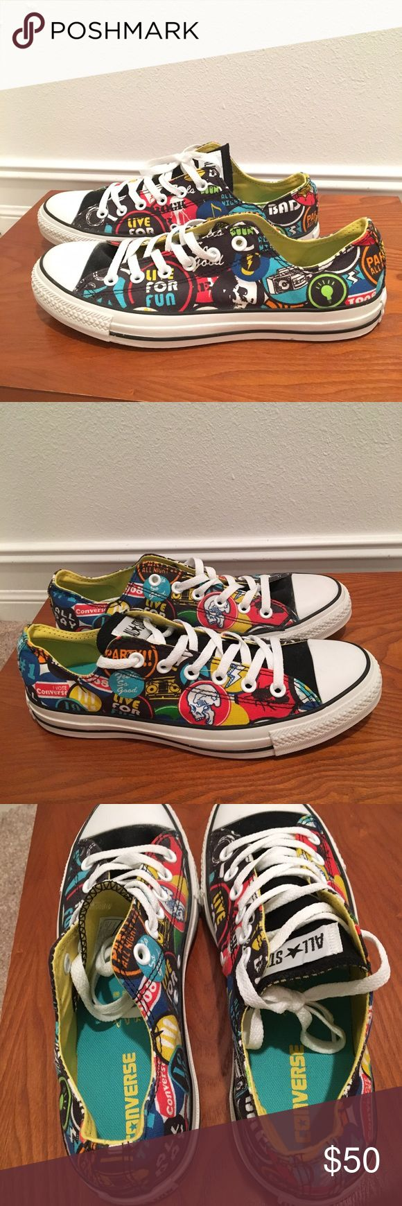 Colorful converse low tops Brand new, never worn converse low tops! These have a cool collage pin design with a skull. Women's 10, men's 8. Converse Shoes Sneakers