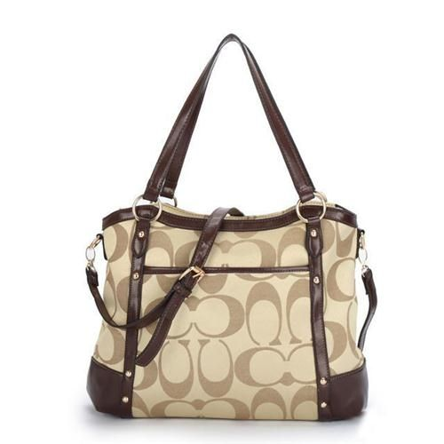* Coach Legacy Logo In Signature Large Khaki Tote BPE ($490)
