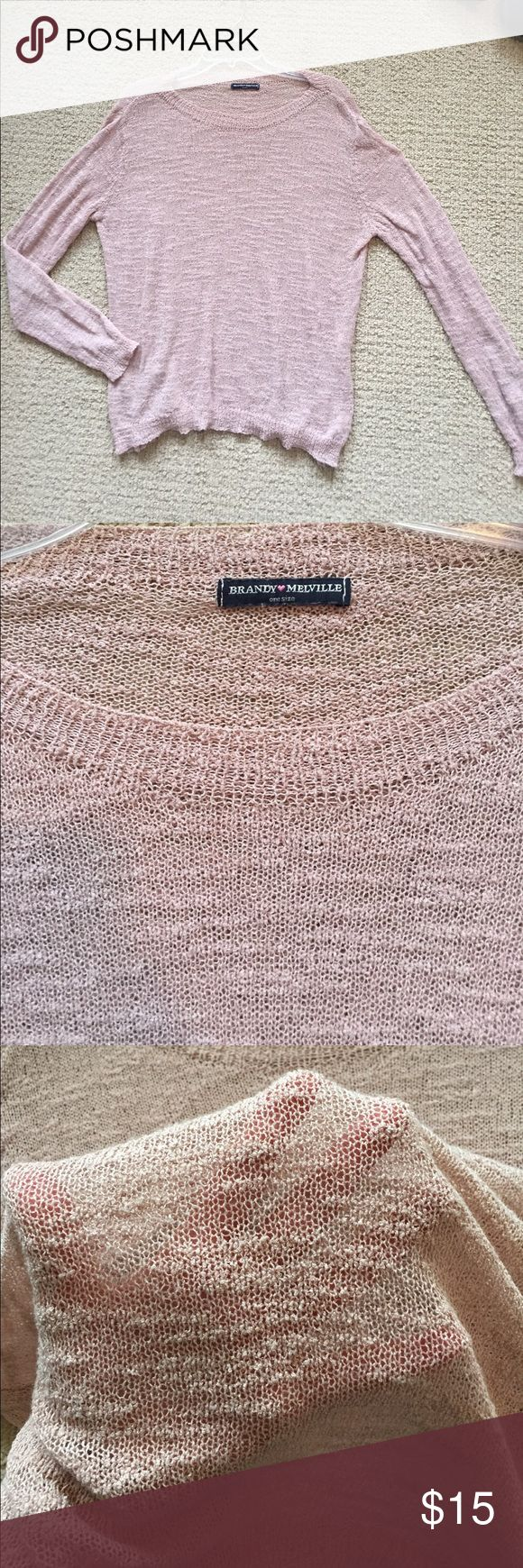 Brandy Melville Pink Slouchy Sweater Top This top is sheer and meant to be layered Brandy Melville Tops Tees - Long Sleeve
