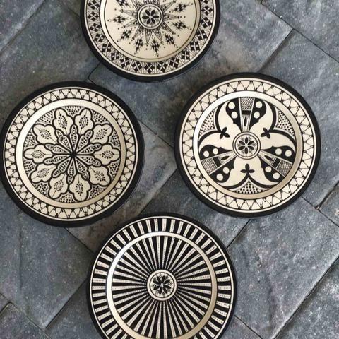 Safi Black Dinner Plates. Handmade in Safi, Morocco.