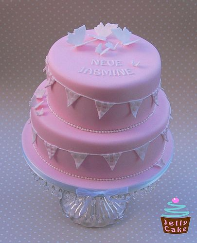 Bunting and Butterflies Christening Cake