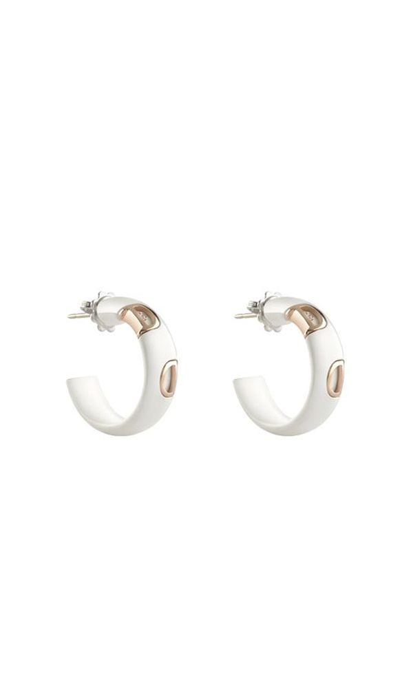 D.Icon white ceramic and pink gold earrings with diamond