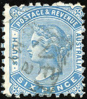 South Australia 1887 Scott 80 6p pale blue, Perf 10