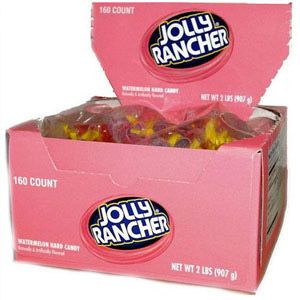 <p>The original Jolly Rancher in bite size candies. Individually wrapped pieces of Watermelon flavored Jolly Rancher's candy. Just untwist and eat a great taste and great for Halloween!</p>